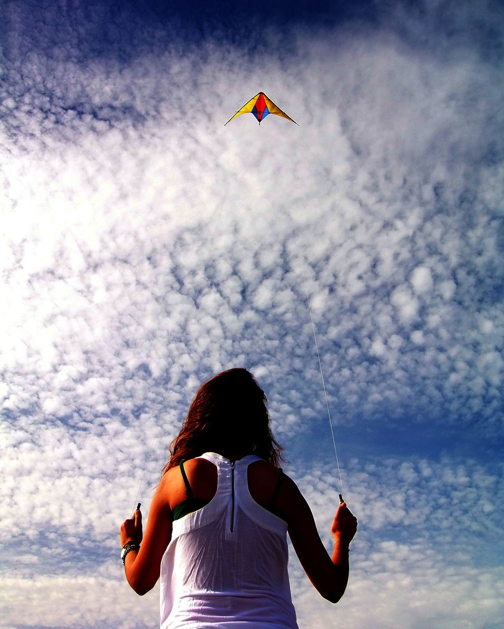 Rear View Of Woman Flying Kite Against Cloudy Sky