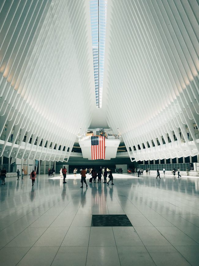 World Trade Center Hub 911 911memorial Airplane Airport Airport Departure Area Architecture Built Structure Flag Indoors  Journey Landmark Mode Of Transport Modern New York Passenger Travel Travel Destinations United States United States Of America US Flag USA USA FLAG Vintage World Trade Center World Trade Center Hub