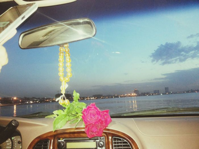 Three beautiful things in one picture: {Tripoli , the sea , and flowers} may Allah bless my country♡