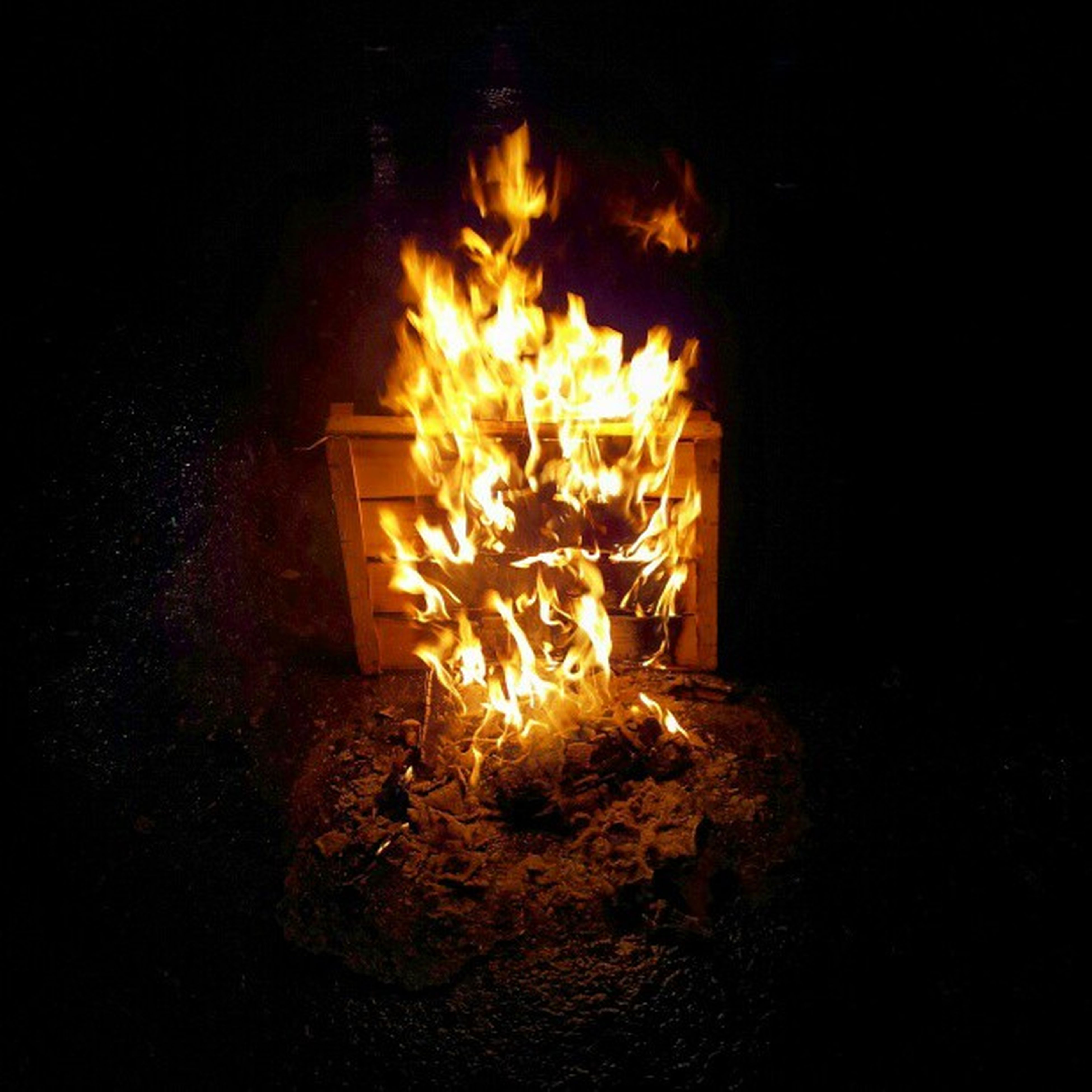 flame, burning, fire - natural phenomenon, heat - temperature, night, glowing, illuminated, dark, firewood, fire, indoors, bonfire, heat, candle, darkroom, light - natural phenomenon, lit, fireplace, close-up, no people