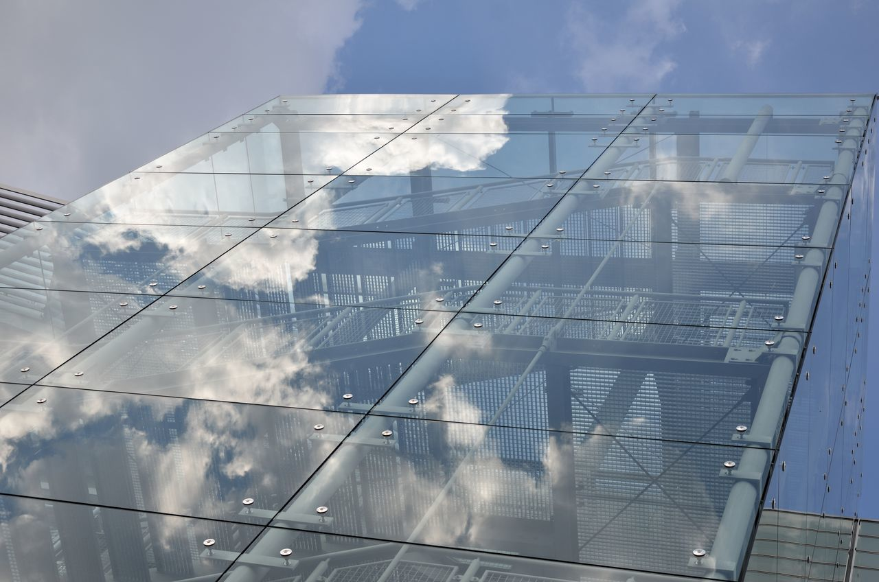 Glass and clouds Architecture Building Exterior Built Structure Cloud - Sky Clouds And Sky Day Glass - Material Low Angle View No People Outdoors Reflection Sky Staircase The City Light