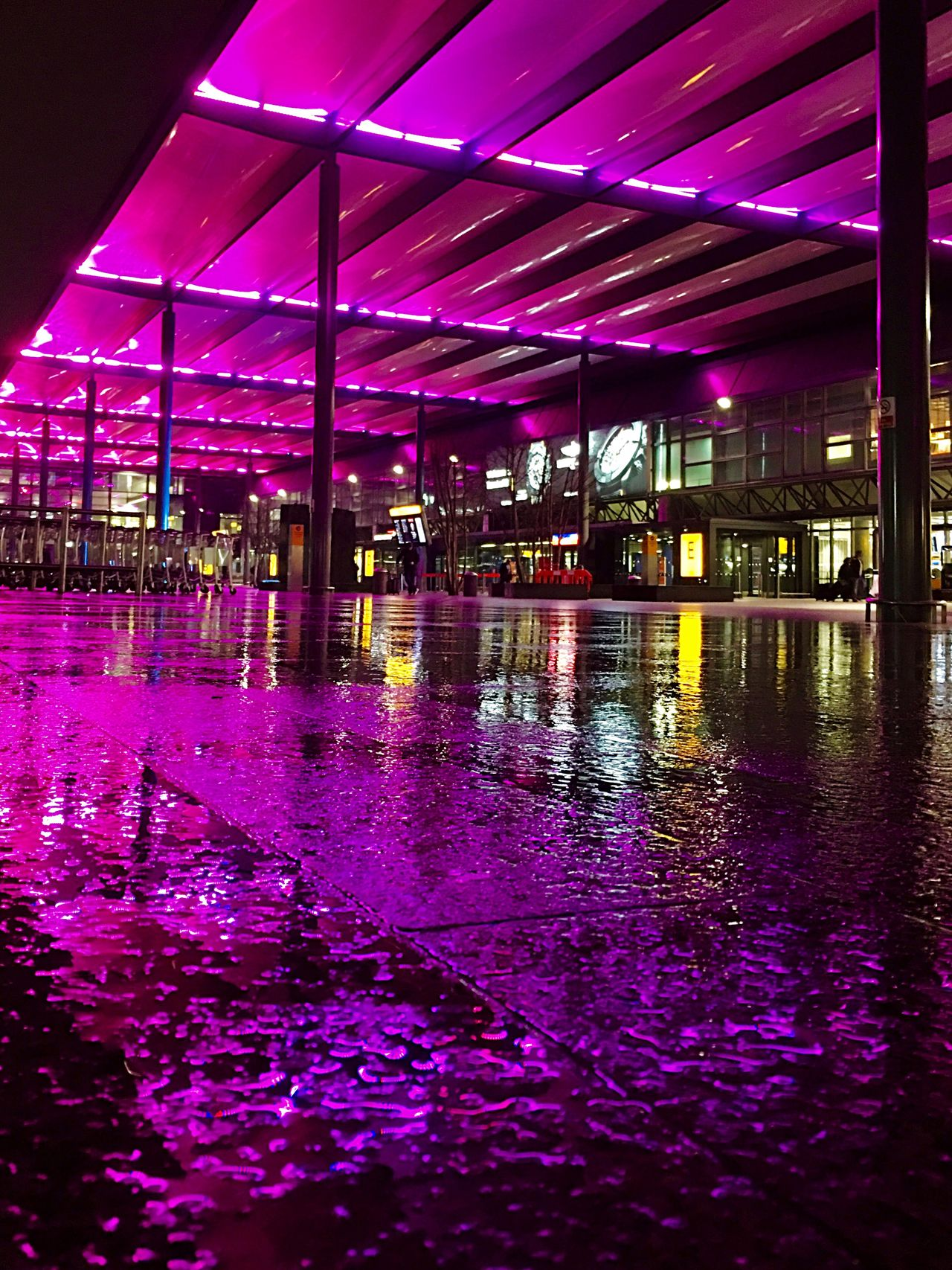 Purple Illuminated Reflection Architecture Water Night Light And Shadow IPhoneography Low Angle View Architecture Pattern, Texture, Shape And Form Water Reflections Early Morning London Built Structure Waterfront Building Exterior City Outdoors