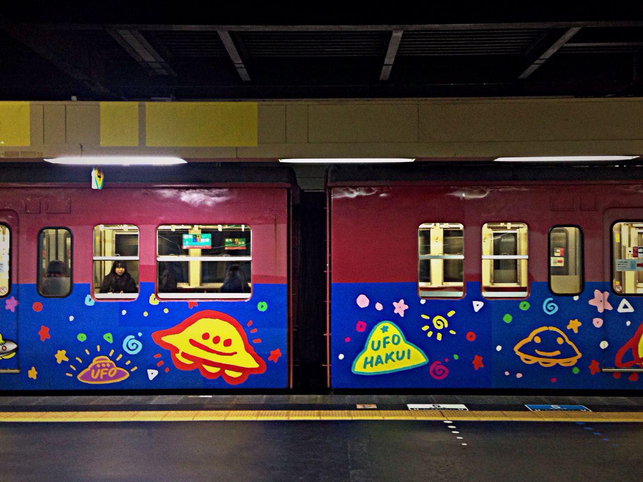 超チープなラッピング列車😳 Public Transportation Commuting Train Train Station Enjoying Life IPhoneography From My Point Of View Streetphotography Street Photography Station Relaxing Kanazawa-shi Japan 車内は外観以上に更にチープ😅