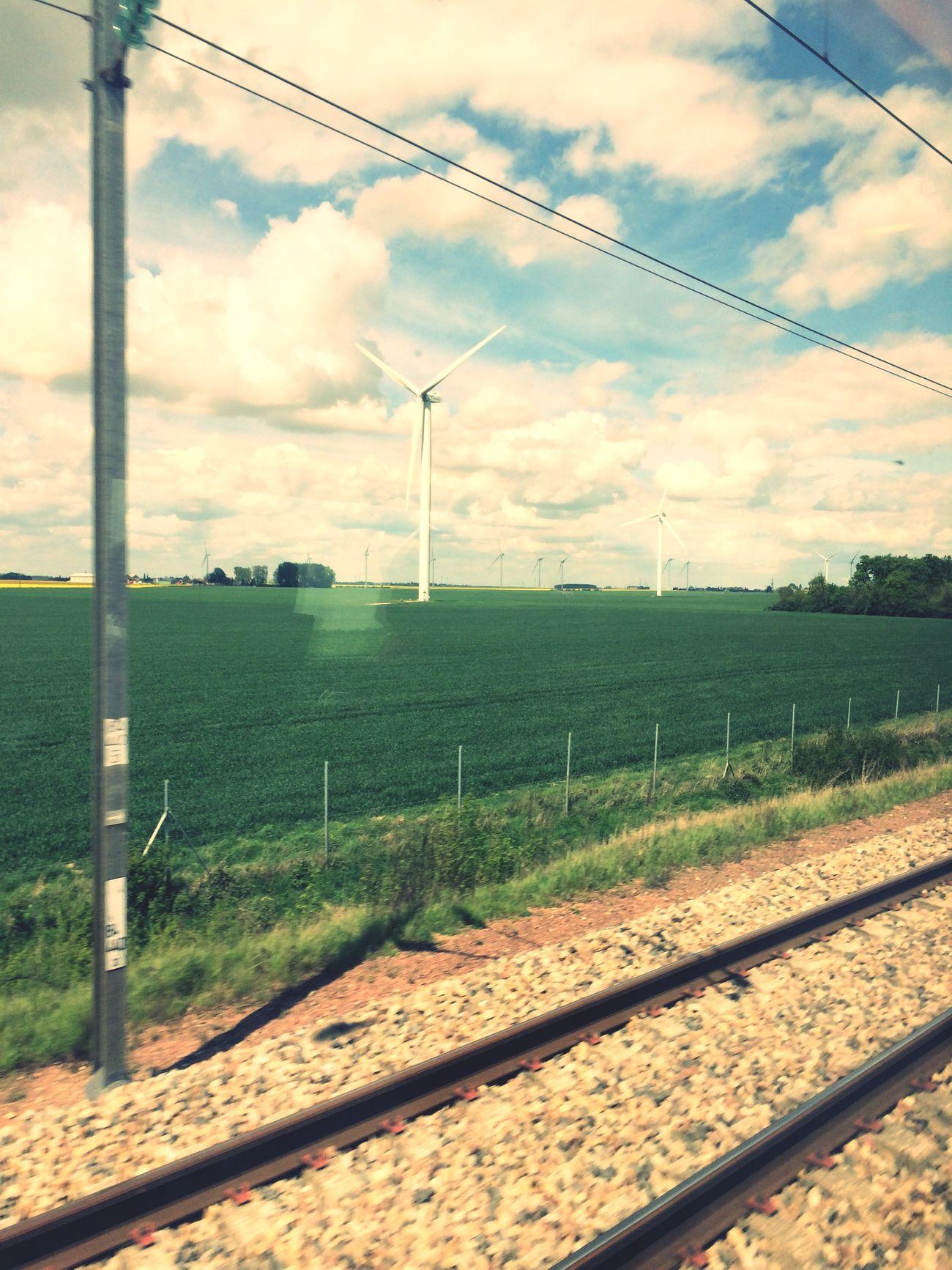 Travelling Sunny Day Eolienne Landscape Field