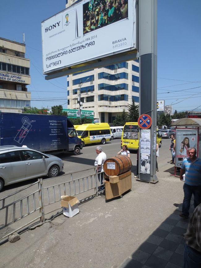 Kvass Barrel of kvass at the Didube bus station in Tbilisi. Tbilisi Didube
