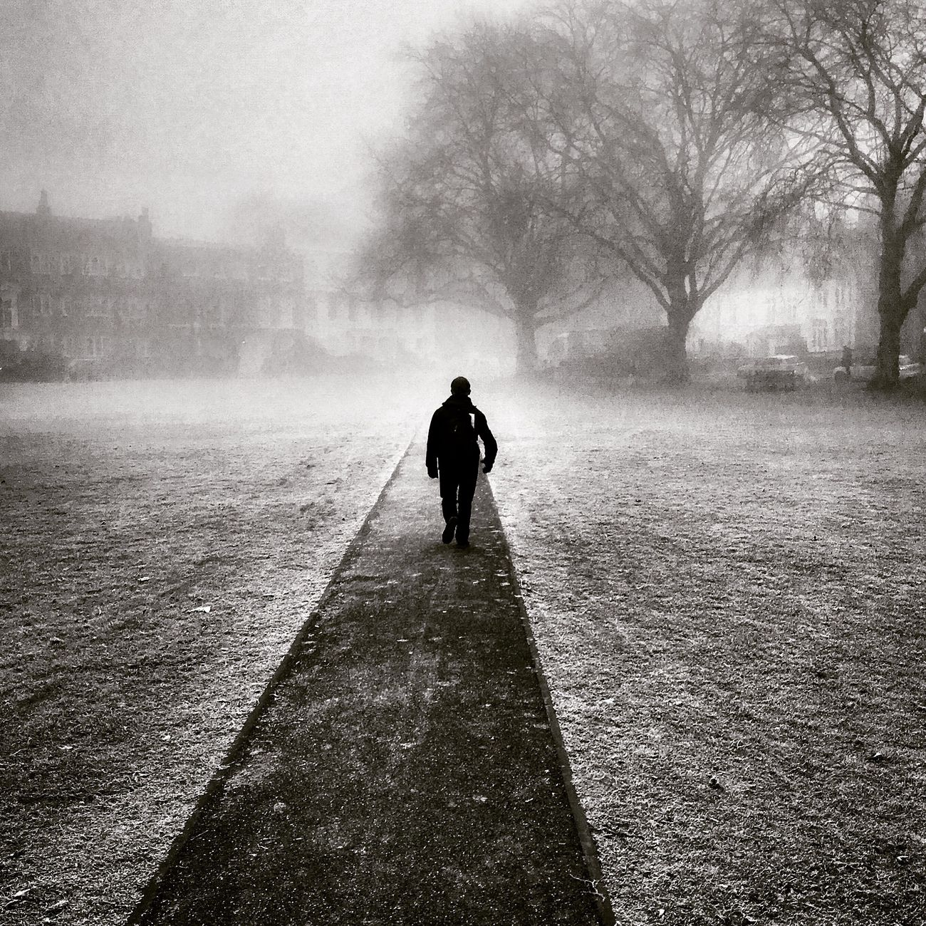 Commute Walk Blackandwhite Monochrome Silhouette Path Bwstreetphotography London Mist Foggy Man Richmond Upon Thames Fog Misty