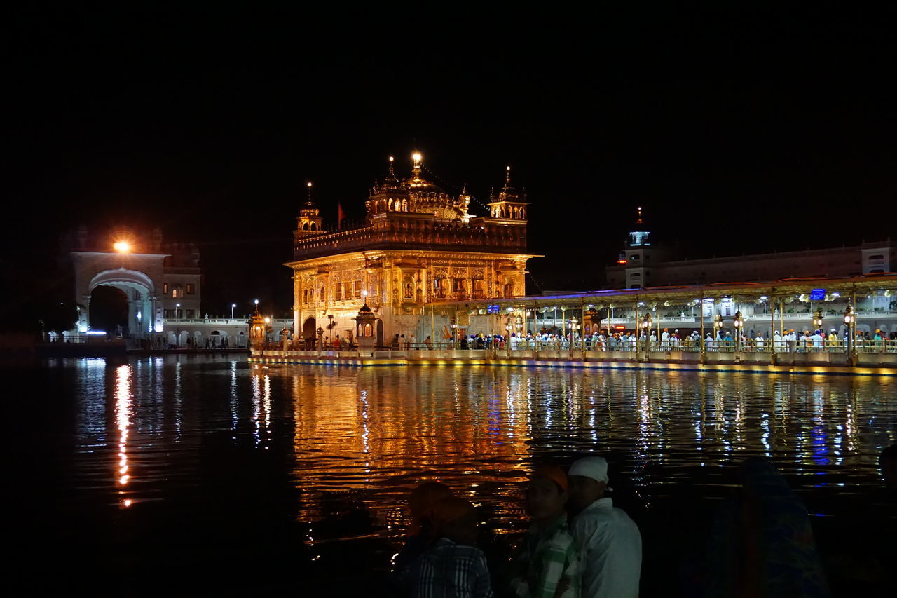Architecture Night Reflection City Travel Destinations Illuminated Built Structure Cityscape Golden Temple Amritsar Religion And Beliefs Traveling UNESCO World Heritage Site