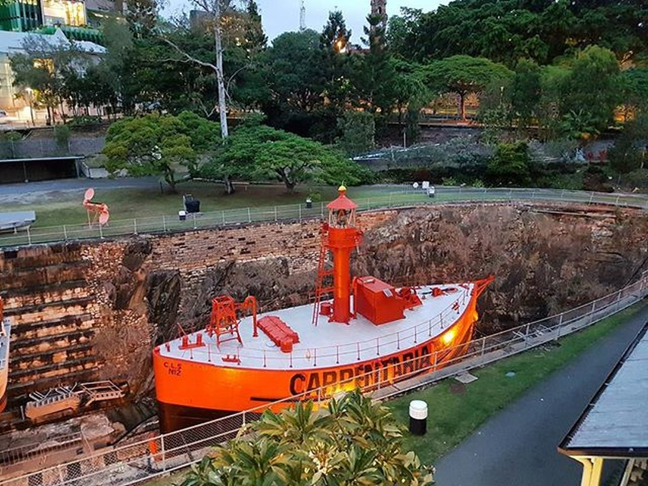 Brisbane Marines Meusem Orange Tugboat Australia Queensland Nightlife BNE City