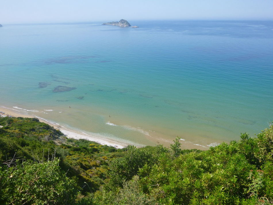 Beauty In Nature Blue Coastline Day Green Color Growth Horizon Over Water Idyllic Looking Down At The Turquois Water Nature No People Non Urban Scene Ocean Plant Remote San Stefanos, Corfu, Greece Scenics Sea Seascape Shore Sky Tranquil Scene Tranquility Tree Water