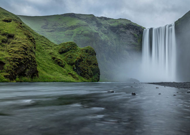 Beauty In Nature Enjoying Life Iceland Iceland_collection Idyllic Islande Landscape Nature Non-urban Scene Outdoors Power In Nature Skogafoss Sky Tranquil Scene Tranquility Travel Destinations Water Waterfall Weather