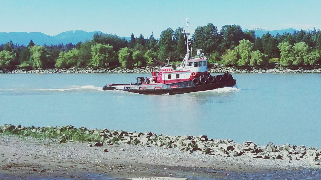 Nautical Vessel Transportation Lets Go. Together. Tugboat On The Fraser River,