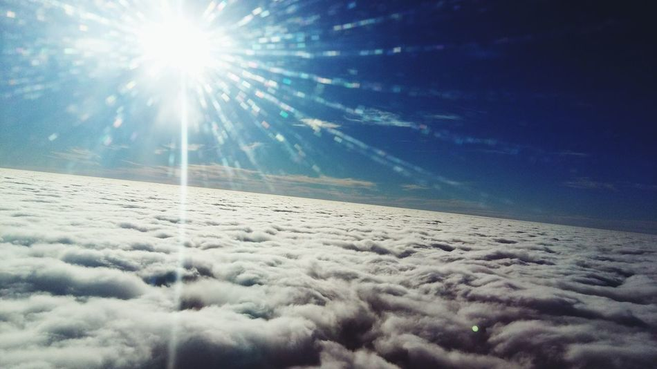 Cloud 9. Sunbeam Sun Sky Tranquil Scene Clear Sky Blue Sky Memories Transportation Aircraft Wing Travel Vapor Trail Cirrus Blue Flying Aerial View Air Vehicle Backgrounds Airplane Sky Only Heaven