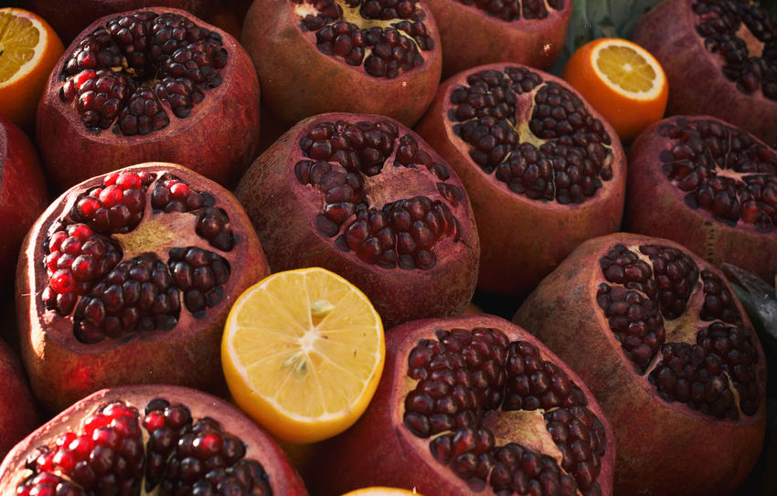 Pomegranate Seeds Orange Anti Oxidant Circular Pattern Citrus Fruit Close-up Food Food And Drink Freshness Fruit Healthy Eating Nutritious Pomegranate Pomegranate Seed Red Color Sliced Fruit