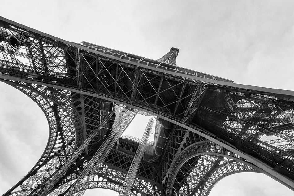 Architecture Black & White Black And White Black And White Photography Built Structure City History Low Angle View No People Outdoors Paris Paris, France  Perspective View Perspectives Tour Eiffel Tour Eiffel Black And White Tour Eiffel, Paris.