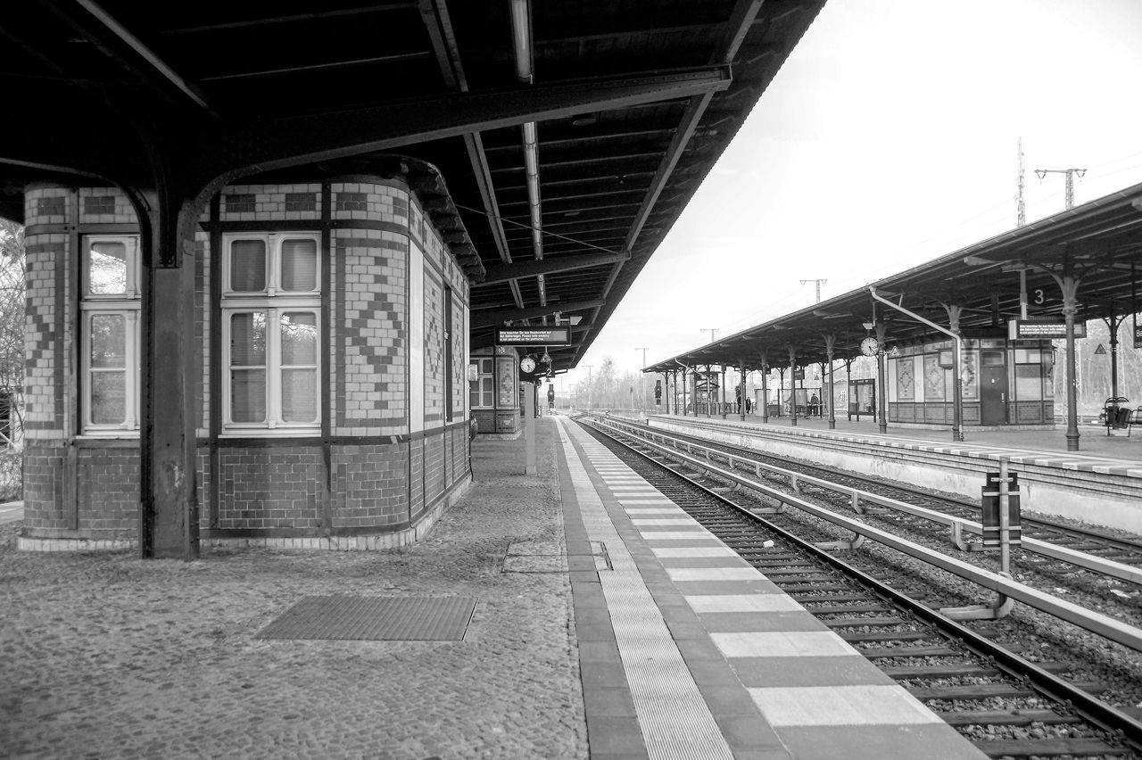 Transportation Rail Transportation Railroad Station Railroad Station Platform Railroad Track Public Transportation Empty Day No People Architecture B&W Magic Public Transport Mode Of Transport Light And Shadow Outdoors Berlin Berliner Ansichten Black & White Bnw Black And White Monochrome Monochrome Photography Street Photography Blackandwhite Travel