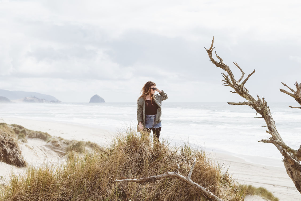 Anita One Person Casual Clothing Standing Outdoors Beach Leisure Activity Nature Adventure Coast Oregon Cape Kiwanda Tranquility The Great Outdoors - 2017 EyeEm Awards Travel Destinations Scenics PNW One Woman Only Landscape Real People Mood The Portraitist - 2017 EyeEm Awards Dunes