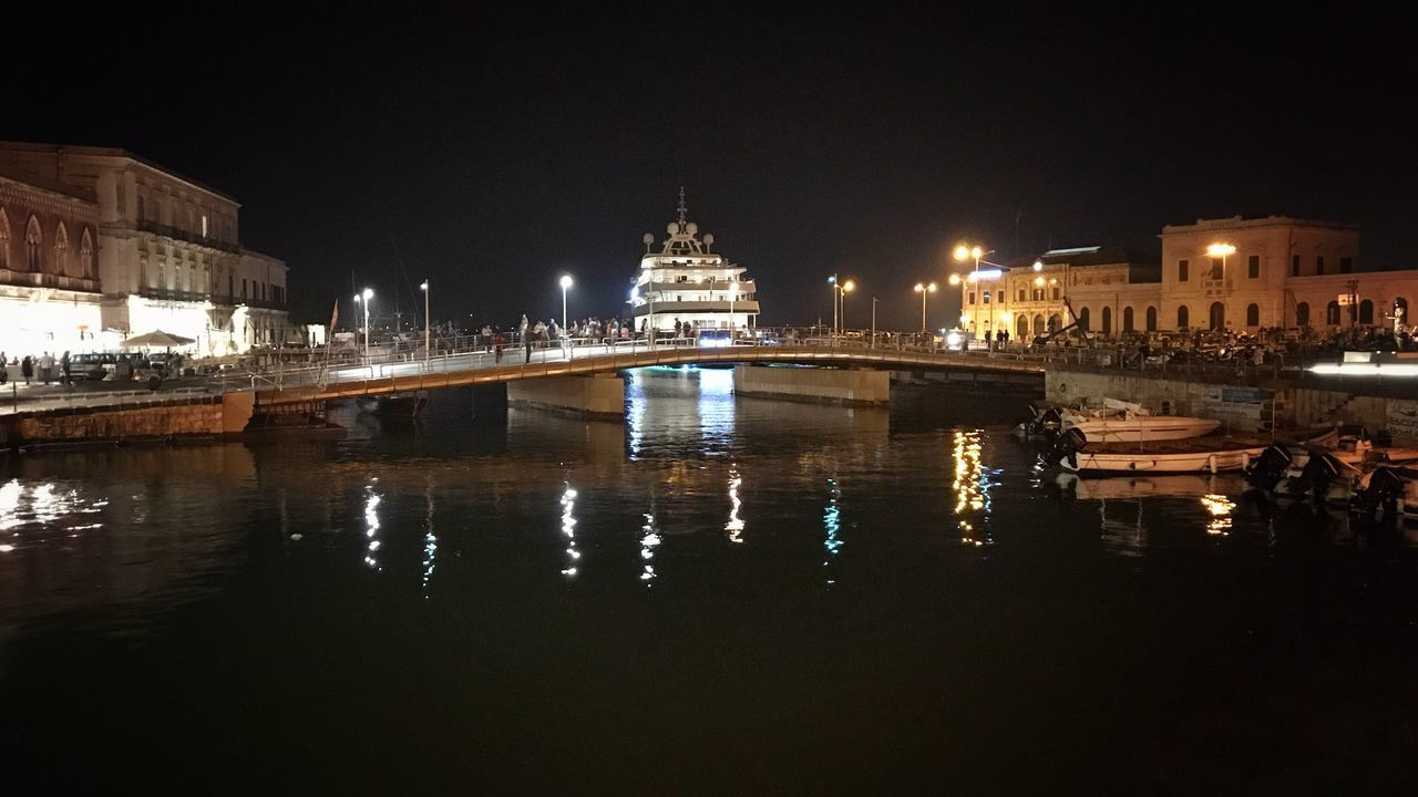 Marina - Ortigia Architecture Built Structure Illuminated Building Exterior Night Water Reflection Travel Destinations Outdoors Sky No People City Waterfront Clear Sky Ortigia By Night Architecture_collection City Sea Sea Life Bridge Bridge View Transportation Mode Of Transport Tranquility