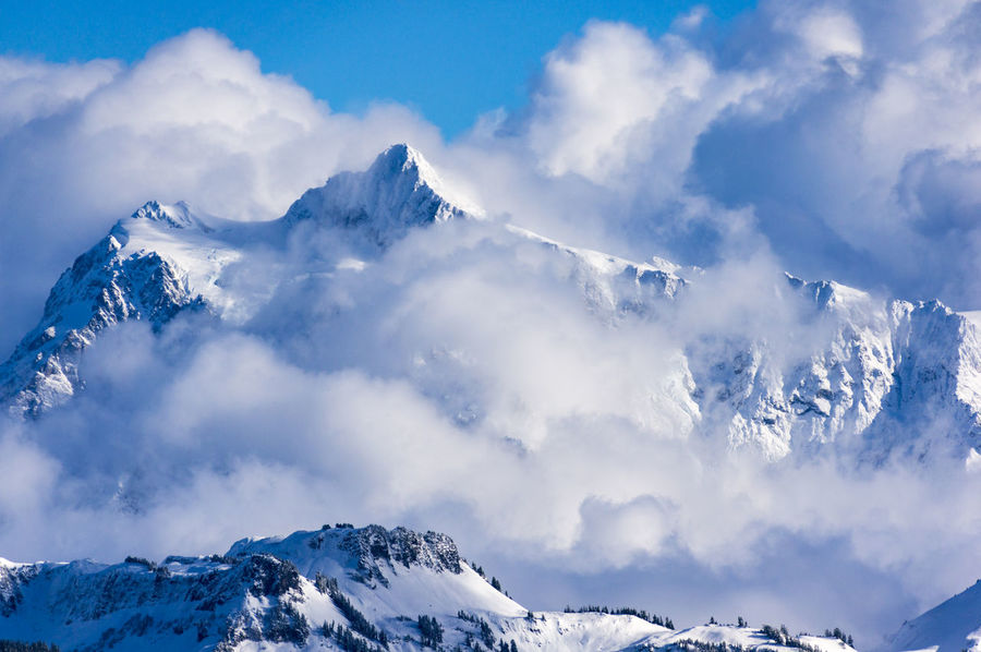 First snows of the year on Mt. Shuksan, near Bellingham, WA, November 2015 Beauty In Nature Blue Cloud Cloud - Sky Cold Temperature Covering Day Idyllic Landscape Majestic Mountain Mountain Range Nature Non-urban Scene Scenics Season  Sky Snow Snowcapped Snowcapped Mountain Tranquil Scene Tranquility Weather White Color Winter The Great Outdoors - 2017 EyeEm Awards