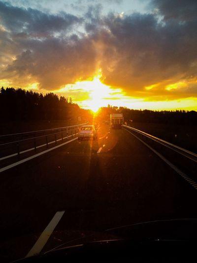 God Morning! Sunset On The Road Taking Photos Enjoying The Sun