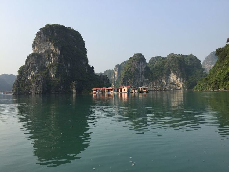 Floating House Rock Formation Mountain Rock - Object Water Clear Sky Tranquility Nature Tranquil Scene Scenics Beauty In Nature Outdoors Waterfront Day Cliff Sea No People Sky