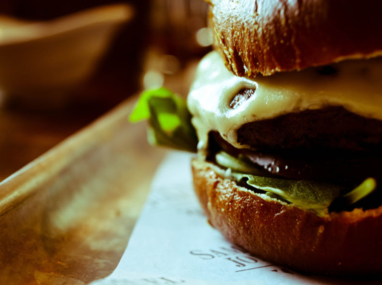 Burger Burger Macro Close-up Day Daylight Daylight Photography Food Food And Drink Food Macro Freshness Gourmet Burger Indoors  Meat Melted Cheese, No People Ready-to-eat Table
