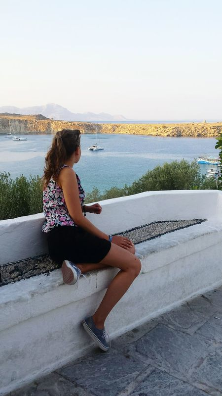 Rhodes Lindos Seaside Girl At The Seaside Fit Girl Girl Power View From Above Sea View Eyeemphoto A Bird's Eye View