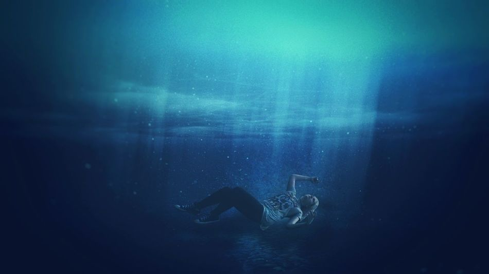 Blue Water Arts Culture And Entertainment No People Underwater Indoors  Swimming Close-up UnderSea Day People Real People Portrait Surrealism Surreal Conceptual Young Adult Photo Manipulation Photoshop Edit Underwaterphoto