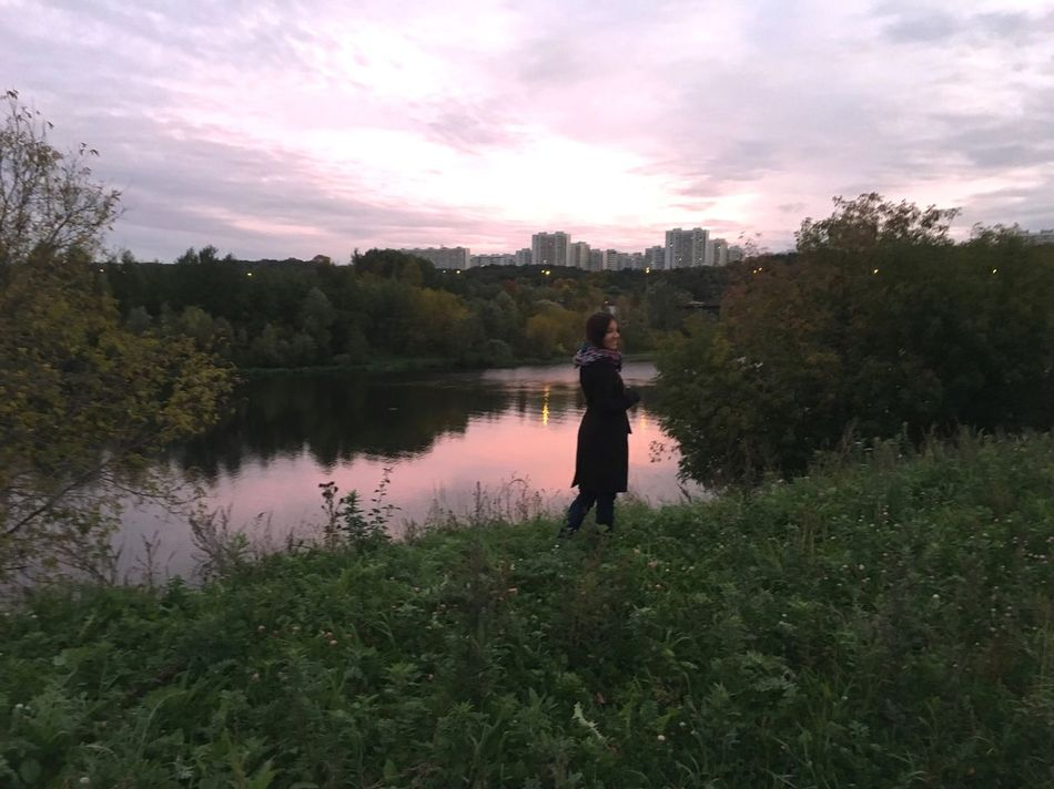 Sunset Standing People And Places Moscow Life Moscow Young Women Full Length Lake Reflection Tranquil Scene Nature City Life Evening