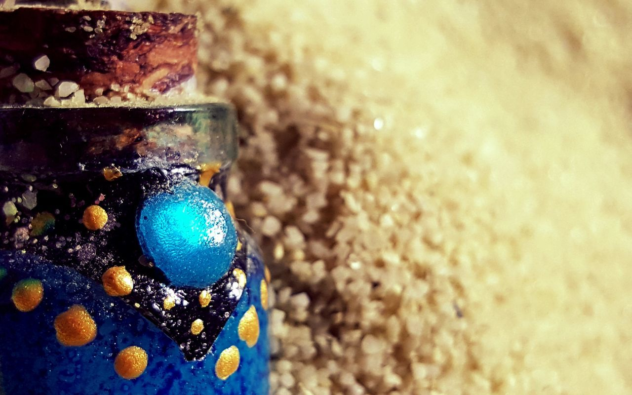 Sand Desert Grains Of Sand Bottle Blue Handmade Jeweled Gilded Design Abstract Art, Drawing, Creativity Deserted Lost Details Still Life Selective Focus Corked Fine Art Photography