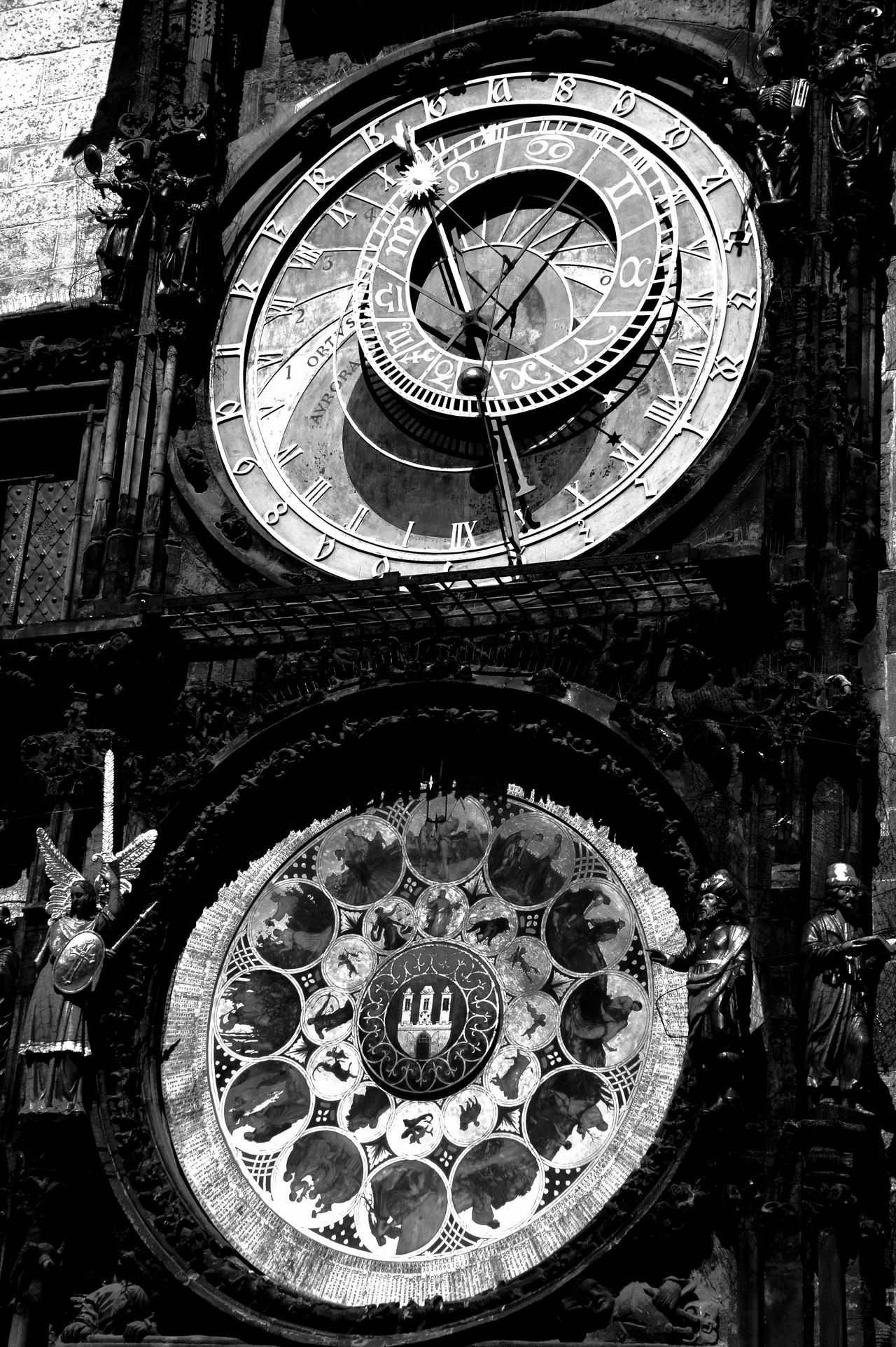 #black And White #City #City Hall #clock #close Up #Prague #sundial