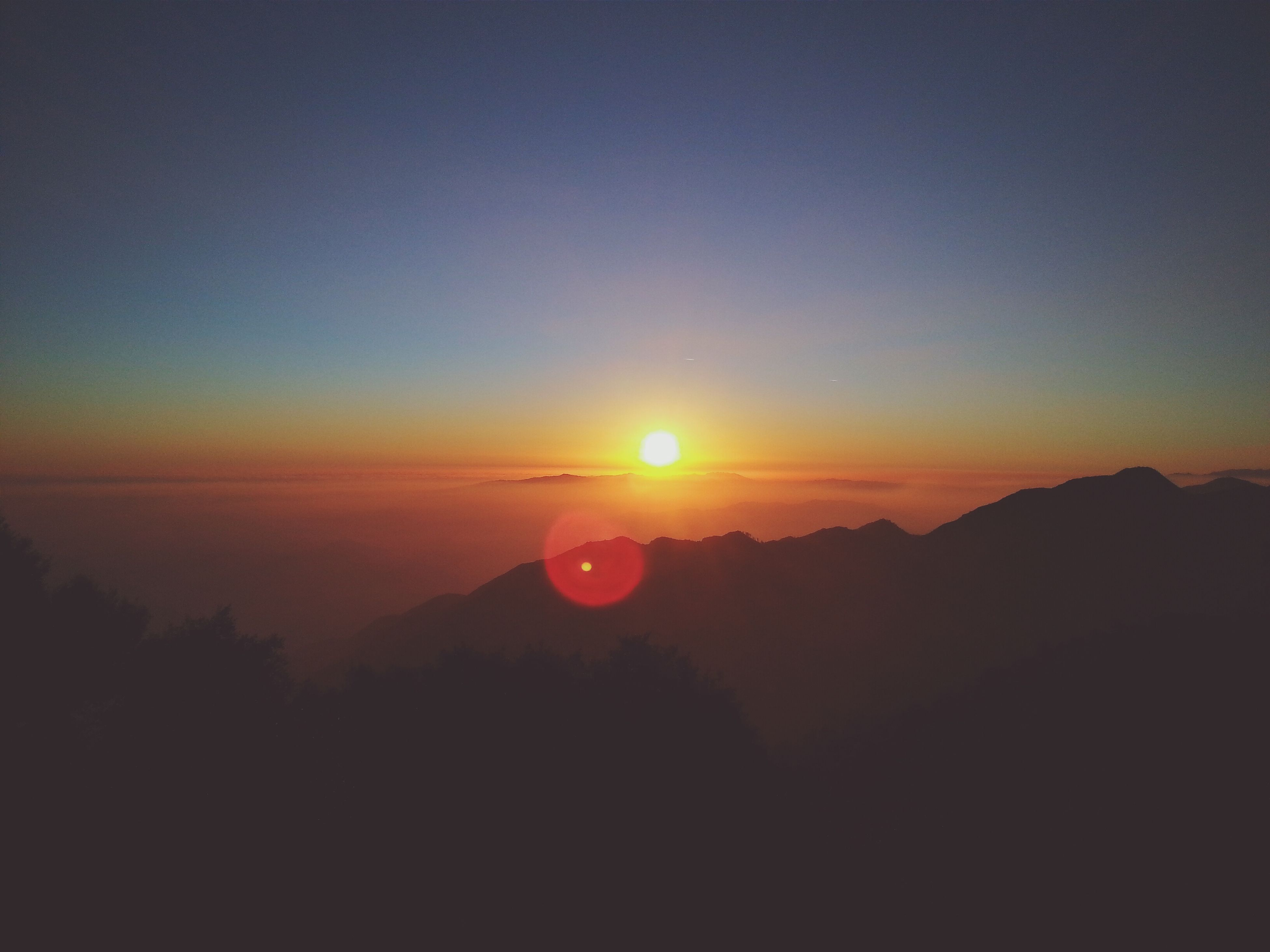 sunset, nature, silhouette, beauty in nature, sun, mountain, scenics, landscape, tranquility, tranquil scene, no people, sky, outdoors, clear sky
