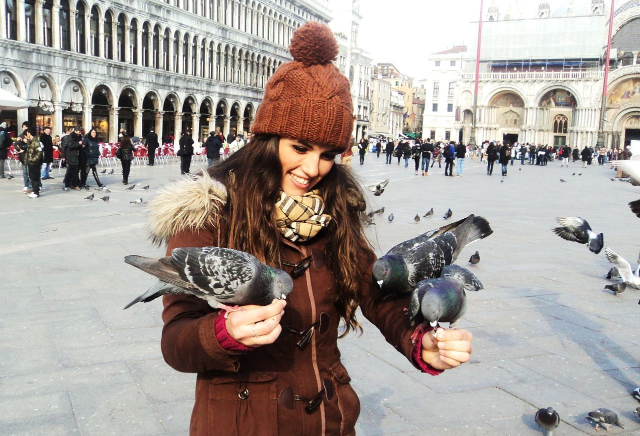 Animals Winter Roma Beautiful People Young Adult Adults Only Women Young Women Christmas Adult City People Snow Friendship Cold Temperature Portrait Christmas Decoration One Woman Only One Person Outdoors Day Adapted To The City EyeEmNewHere Uniqueness Lieblingsteil Miles Away