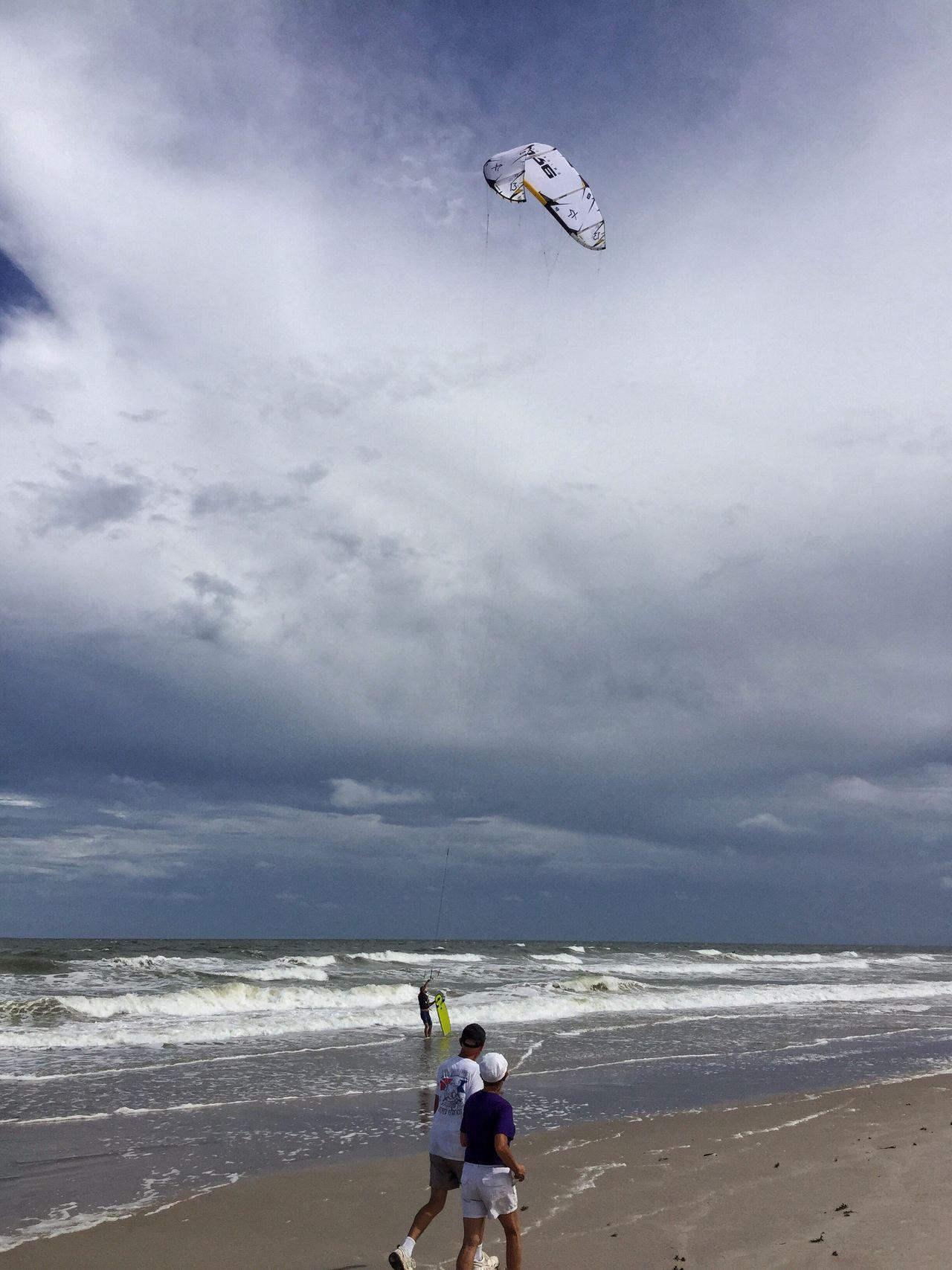 Kite surfer Kite Surfing Kitesurf Kitesurfing Melbourne Beach, FL Leisure Activity Lifestyles Surf Beach Windy Day