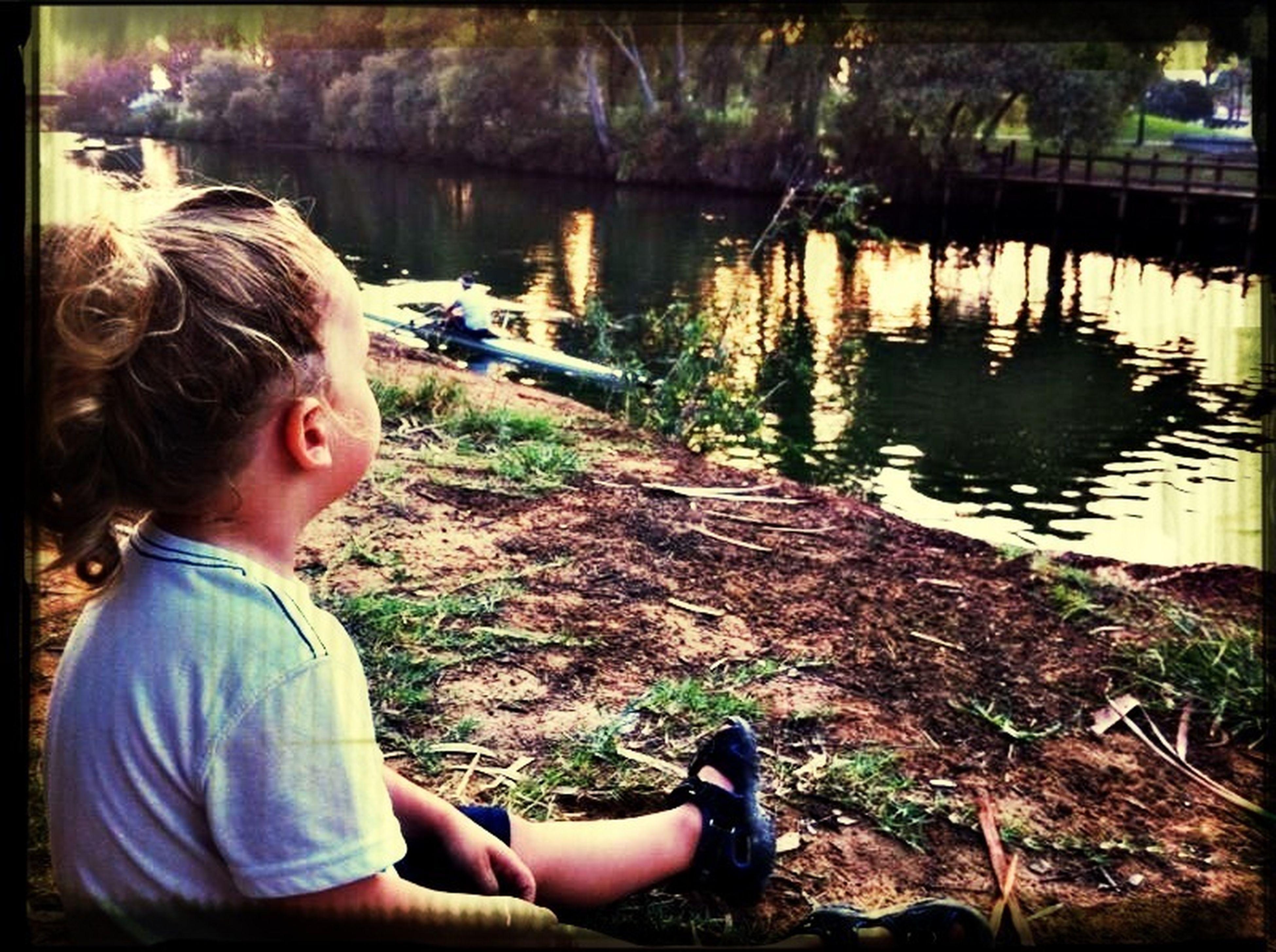 water, lifestyles, leisure activity, casual clothing, lake, sitting, person, bonding, togetherness, boys, childhood, three quarter length, elementary age, relaxation, river, lakeshore, transfer print