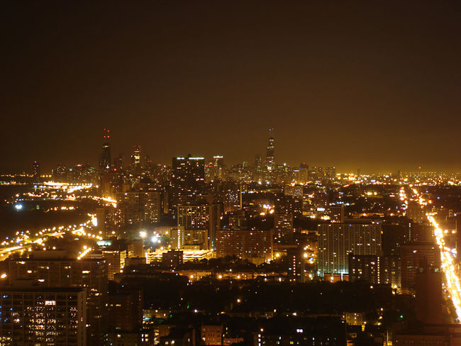Downtown Chicago Birds Eye View Bright Buildings Chicago Colorful Crowded Dark Downtown Foggy Illinois Illuminated Lights Misty Night Night Lights Night Photography Nightphotography Road Sky Scraper Sky Scrapers Tall Traffic