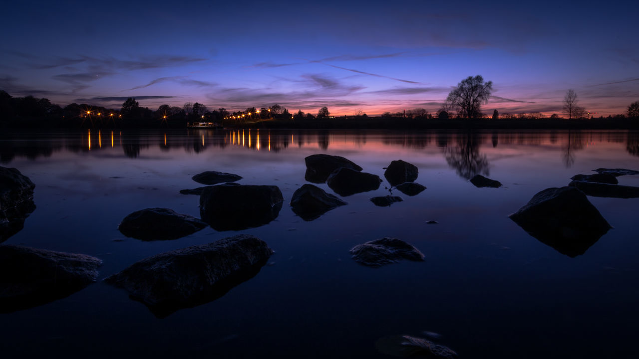 Down by the riverside / After Sunset Blue Blue Sky Cloud - Sky Dark Dusk Elbe EyeEm Best Shots Lake Long Exposure Mirroring Nature Night No People Outdoors Panorama Reflection Rock - Object Sky Sunset Trees Water Water Reflections