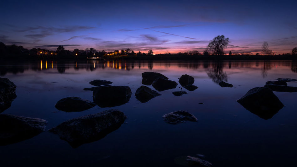 Down by the riverside / After Sunset Blue Blue Sky Cloud - Sky Dark Dusk Elbe EyeEm Best Shots Lake Long Exposure Mirroring Nature Night No People Outdoors Panorama Reflection Rock - Object Sky Sunset Trees Water Water Reflections Welcome To Black