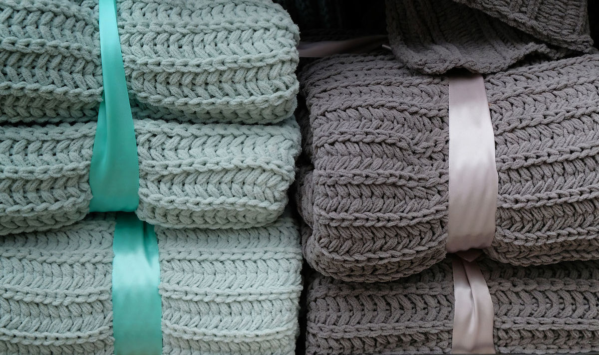 Backgrounds Blanket Close-up Cosy Day Folded Full Frame Grey Color Indoors  Lifestyles No People Ribbons Soft Stack Tidy Turquoise Colored Uncluttered Warmth Winter