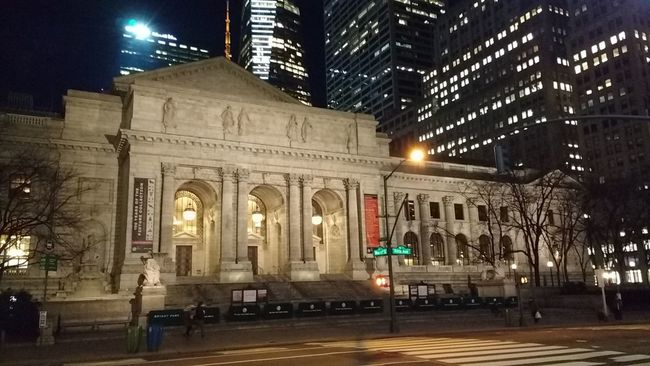 Learn & Shoot: After Dark Buildings Sculpture Lights Afterdark Night Stairs Low Light NYC Mid Manhattan Library