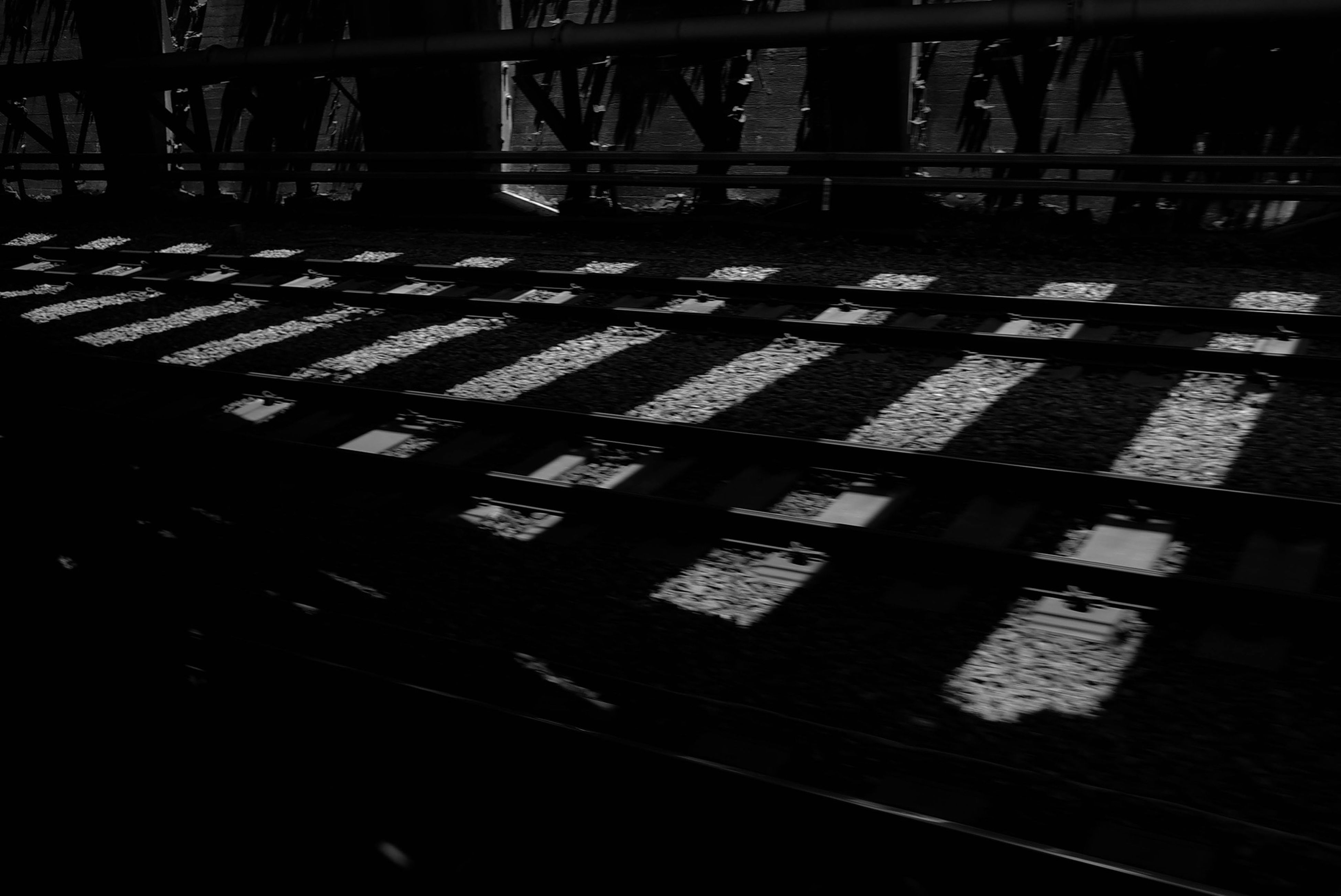 sunlight, metal, shadow, railing, high angle view, indoors, wood - material, pattern, metallic, day, no people, fence, built structure, silhouette, close-up, steps, architecture, auto post production filter, protection