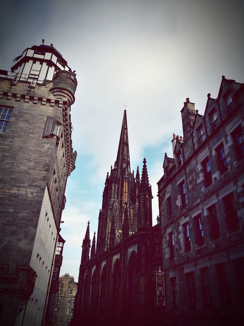Architecture Gothic Style Travel Destinations Building Exterior Cloud - Sky Clock Tower Built Structure Sky Government History Low Angle View Day Outdoors Clock City Clock Face Edinburgh Scotland The Hub