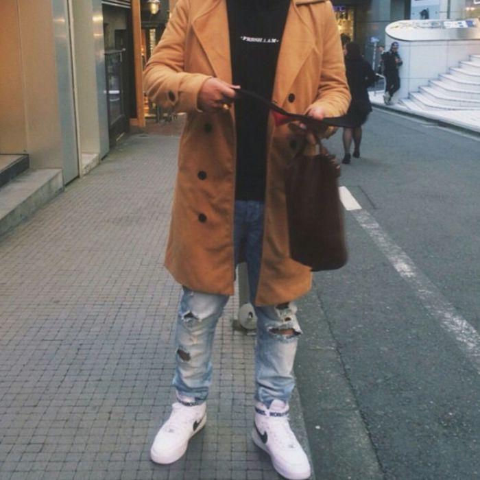 Urban Fashion Street Fashion Urbanstyle Fashion Model Aesthetics Fashionformen  Nike Air Force 1 Ripped Jeans Mens Fashion
