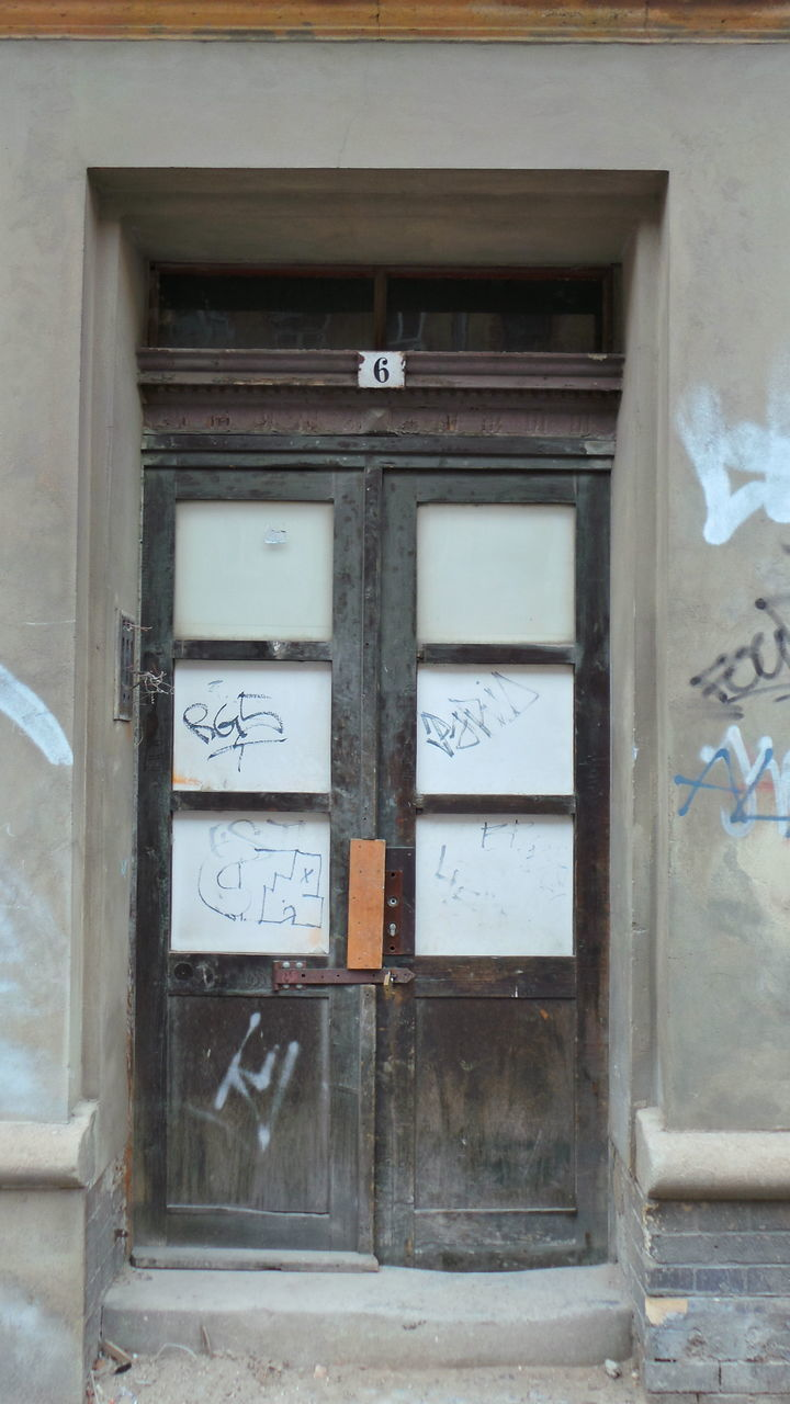 text, door, architecture, day, built structure, no people, communication, building exterior, outdoors, close-up