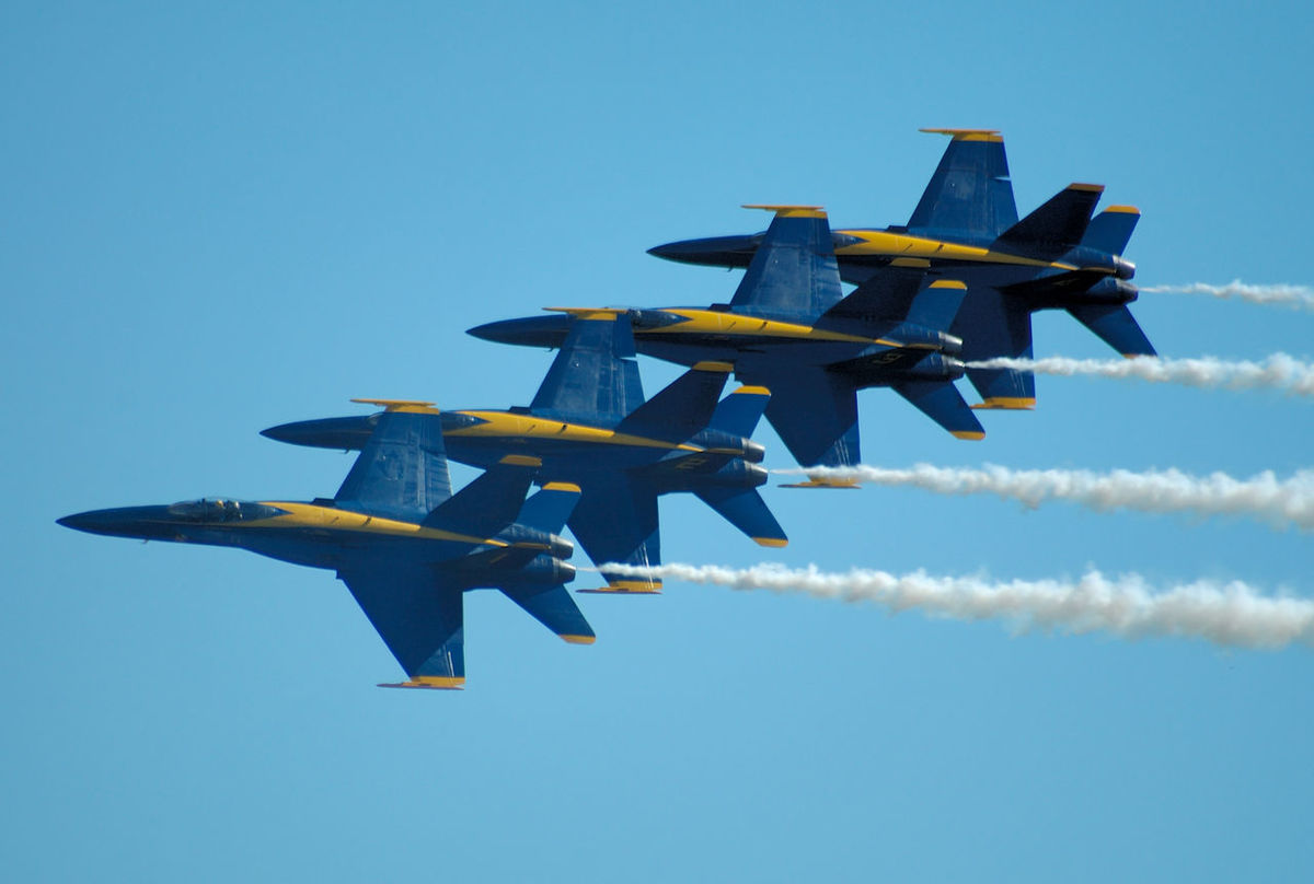Blue Angels in formation flight. Arrangement Aviation Blue Cloud Cloud - Sky Day F-18 Hornet Flying Group Of Objects Jets Low Angle View Medium Group Of Objects Multi Colored Navy No People Outdoors Sky