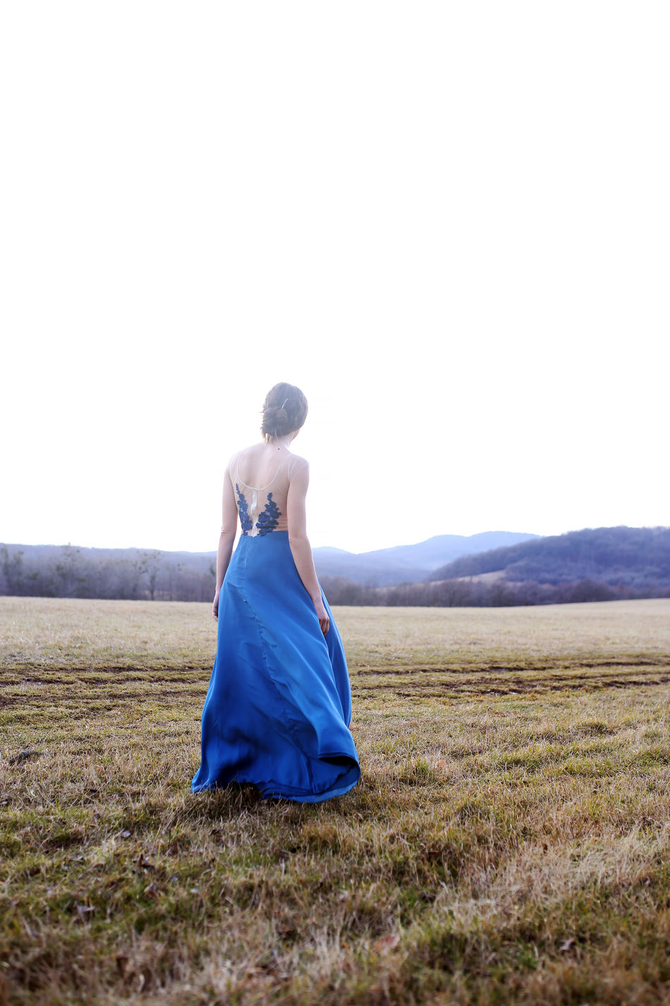 Beauty Beauty In Nature Blue Clear Sky Dress Girl Grass Haute Couture Landscape Nature One Person Outdoors Sky Woman Women