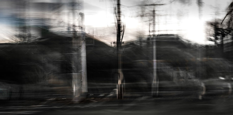 Tested out my new camera in long exposure mode :). Blurred Motion Creepy Dark Day Dusk Grey Long Exposure Motion Motion Blur Mystical No People Outdoors Pan Rails Sky Smoke - Physical Structure Tree
