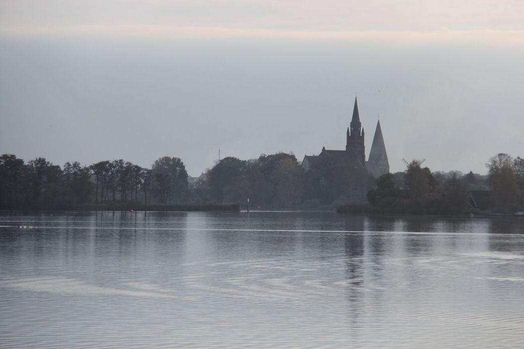 Melancholic Landscapes Lake Ripples Church Spire  Water Reflections Hazy Shade Of Winter
