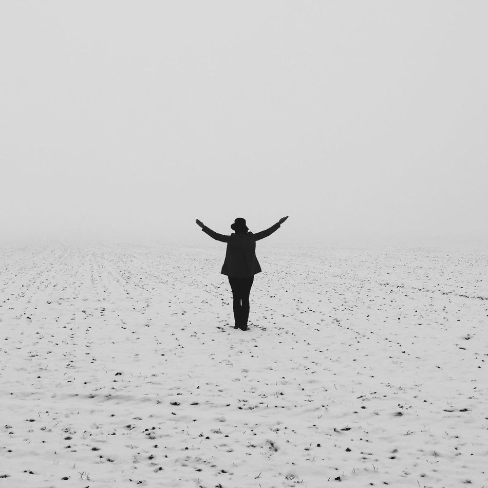 Beautiful stock photos of silhouette, Arms Raised, Clear Sky, Cold Temperature, Day