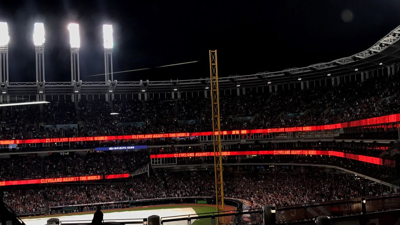 We might have lost, but we're still the champions❤️❤️ Night Illuminated Sport Lighting Equipment Transportation Stadium Competition No People Competitive Sport Indoors  Boxing Ring Rallytogether Mlb Indians  Worldseries