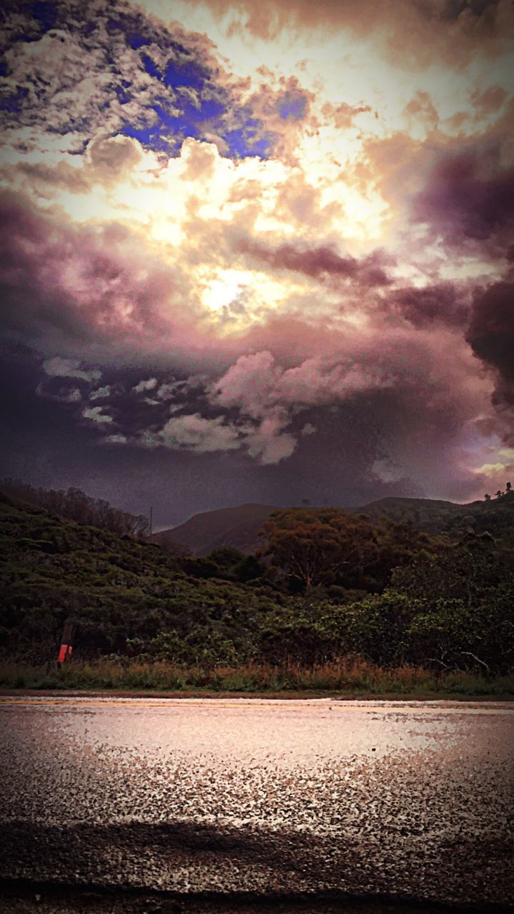 cloud - sky, sky, nature, weather, beauty in nature, no people, landscape, tranquility, scenics, tranquil scene, outdoors, mountain, sunset, storm cloud, day